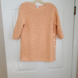 Cotton 3/4 sleeve side button sweater
